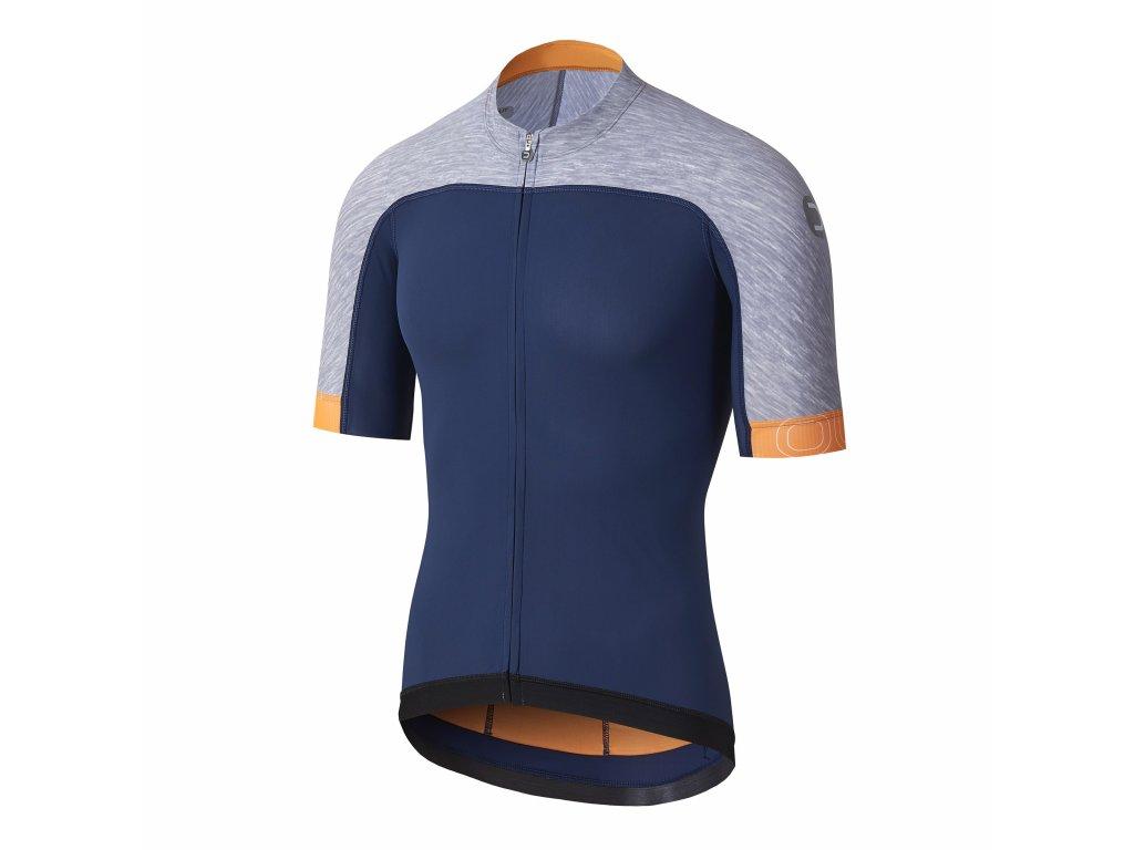Pánský cyklistický dres Dotout Skin Jersey Blue/Melange Light Grey