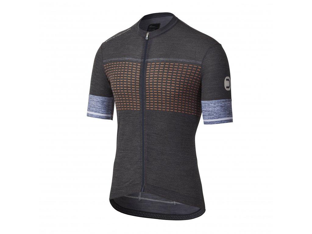 Pánský cyklistický dres Dotout Heritage Jersey Black/Fluo Orange