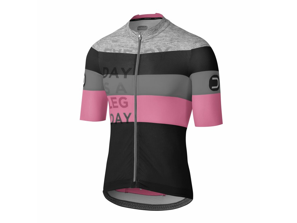 Pánský cyklistický dres Dotout Combact Jersey Black/Pink/Melange