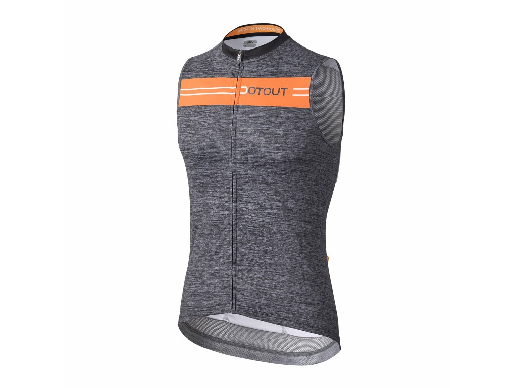 Pánský cyklistický dres Dotout Stripe Sleeveless Jersey Melange Dark Grey/Fluo