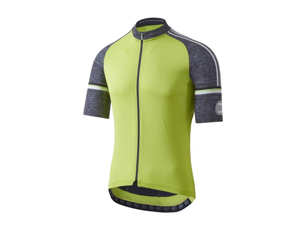 Pánský cyklistický dres Dotout Fusion Jersey Lime/Melange Dark Grey
