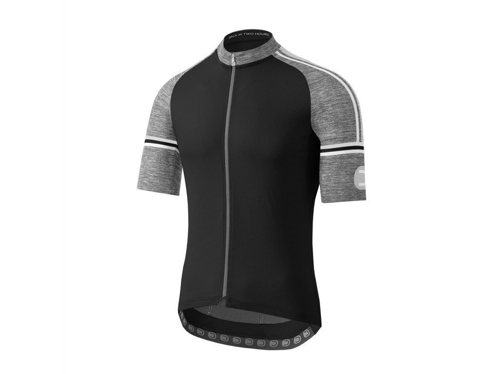 Pánský cyklistický dres Dotout Fusion Jersey Black/Melange Light Grey