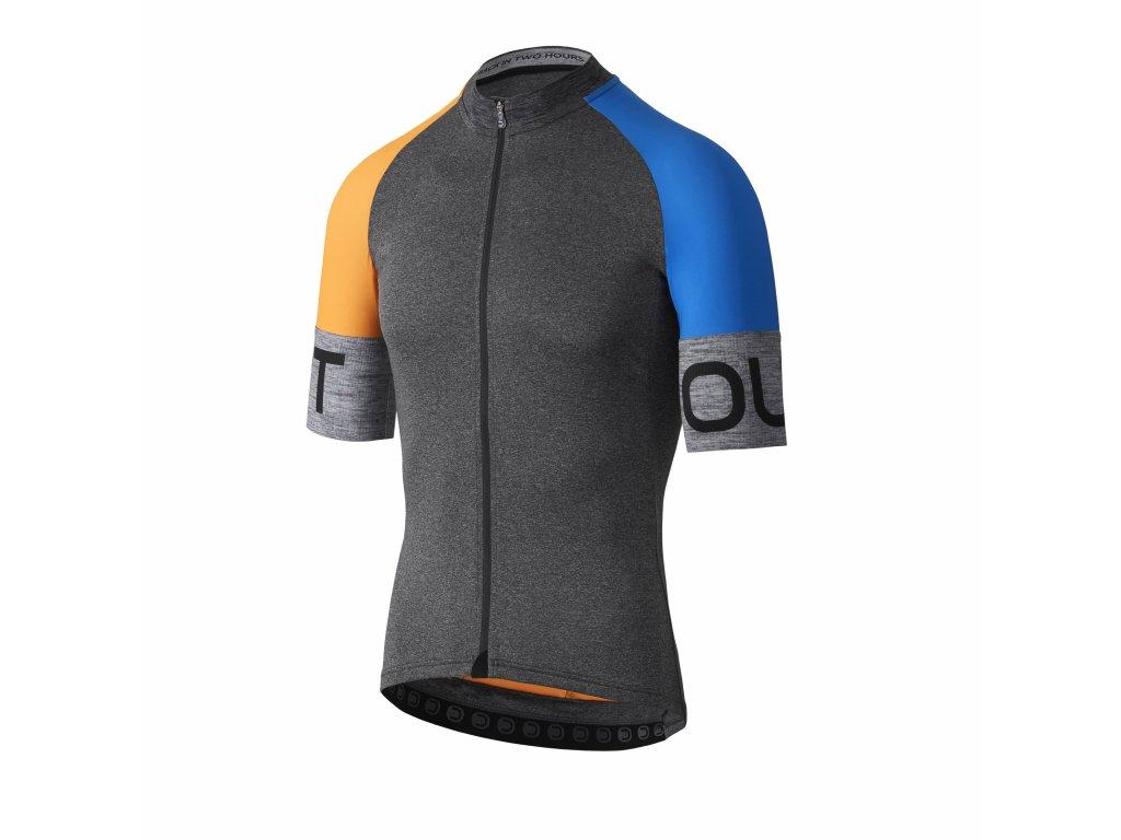 Pánský cyklistický dres Dotout Spin Jersey Melange Dark Grey/Fluo Orange/China Blue