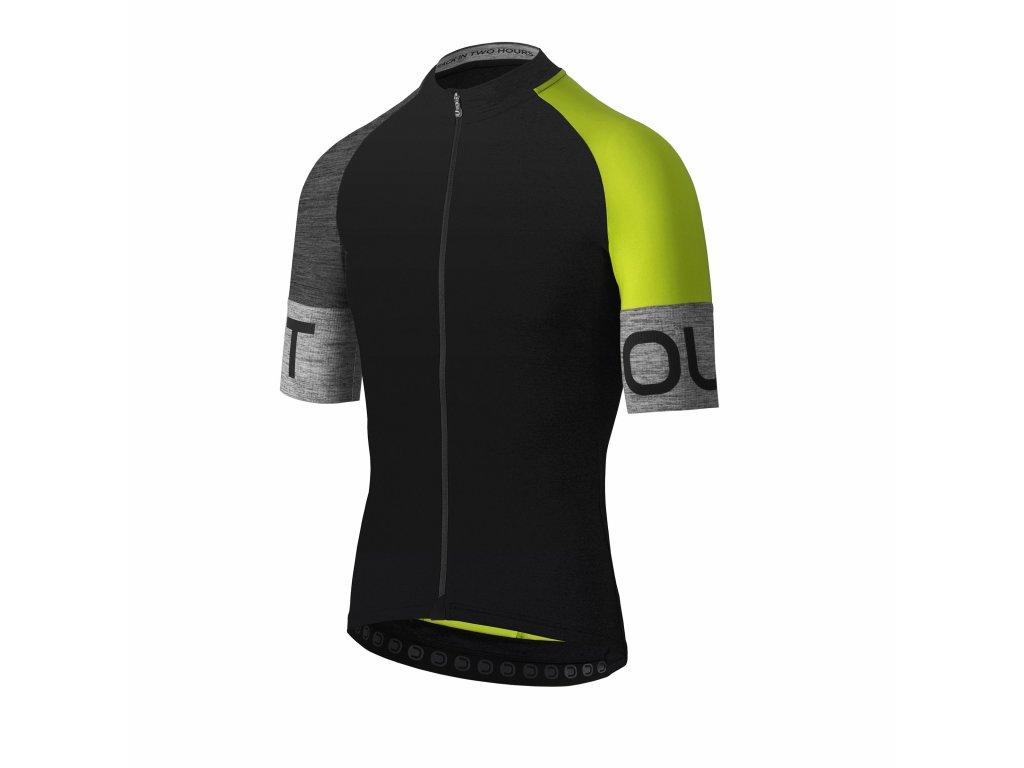Pánský cyklistický dres Dotout Spin Jersey Black/Lime