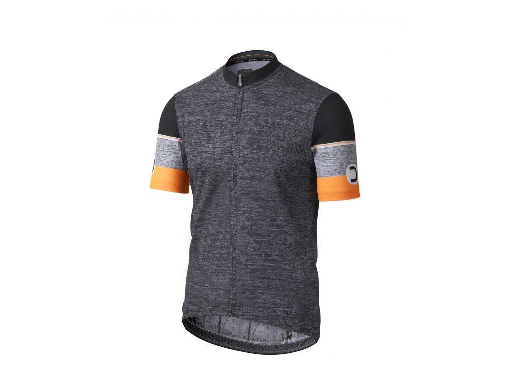 Pánský cyklistický dres Dotout Hero Jersey Melange Dark Grey/Fluo Orange