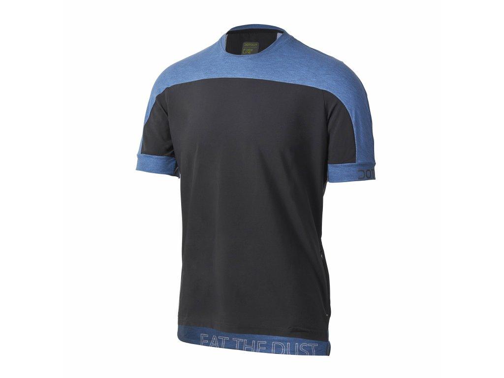 Cyklistické tričko Dotout Cross T-shirt Black/Melange Blue
