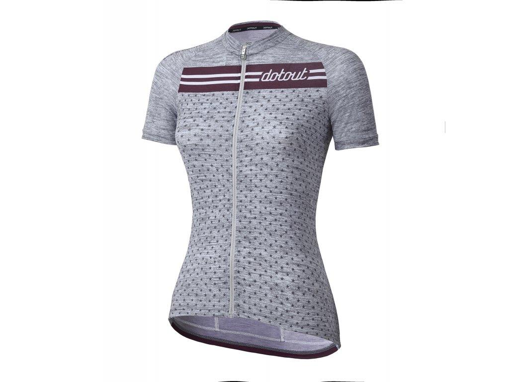 Dámský cyklistický dres Dotout Stripe W Jersey - Melange Light Grey/Bordeaux