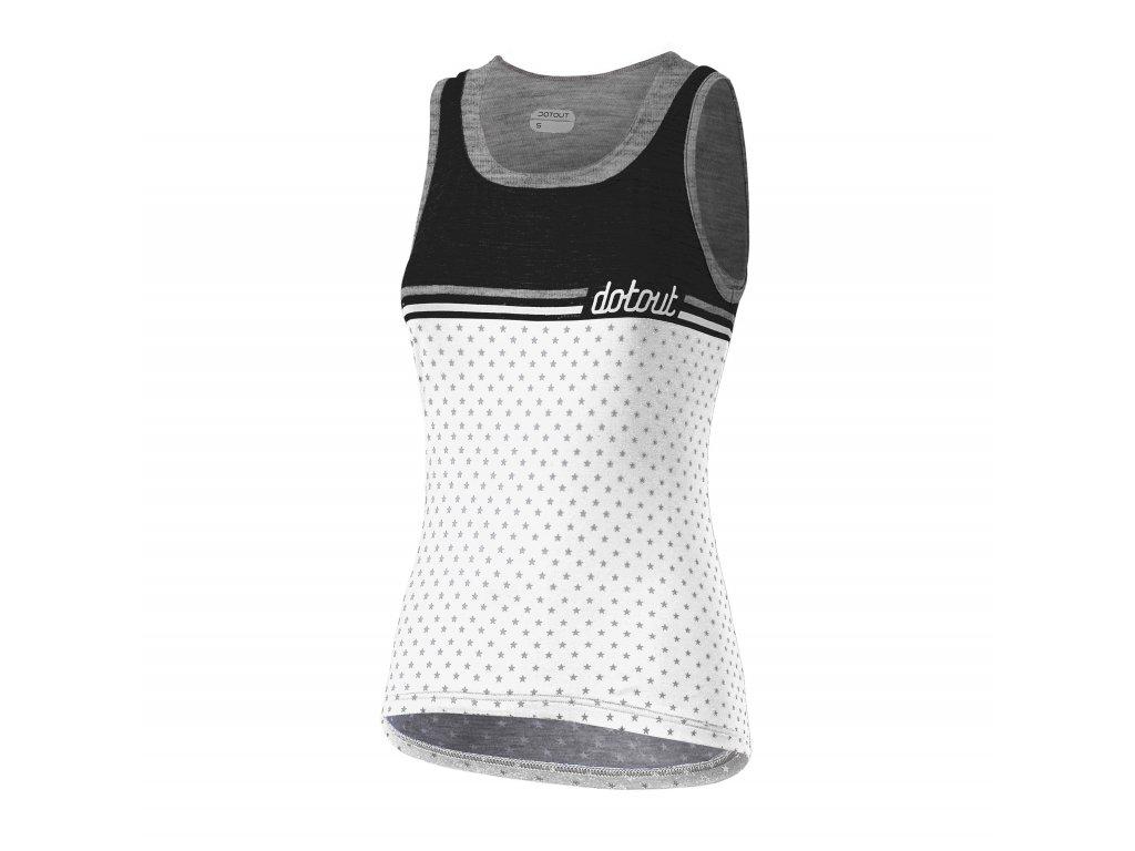 Dámský cyklistický dres Dotout Stripe W Top - white/melange light grey