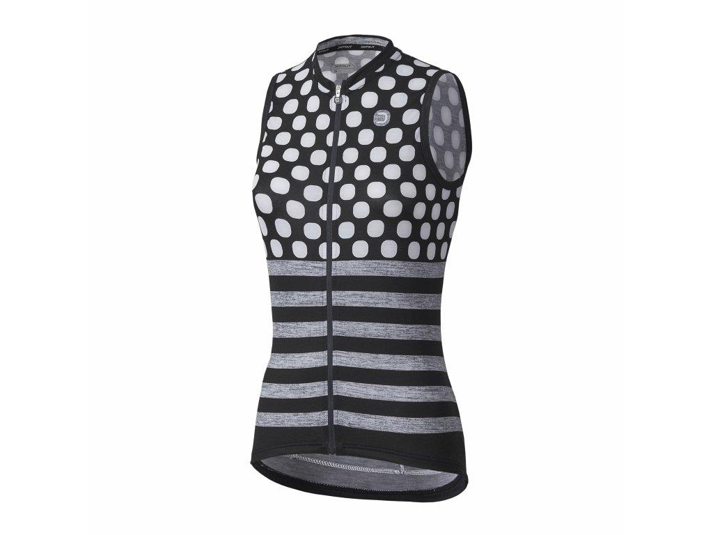 Dámský cyklistický dres Dotout Up W Sleeveless - Black/White/Melange Light Grey