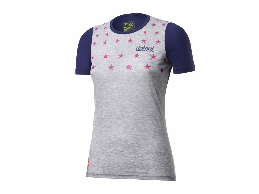 Dámský cyklistický dres Dotout Stars W Jersey - melange light grey-blue