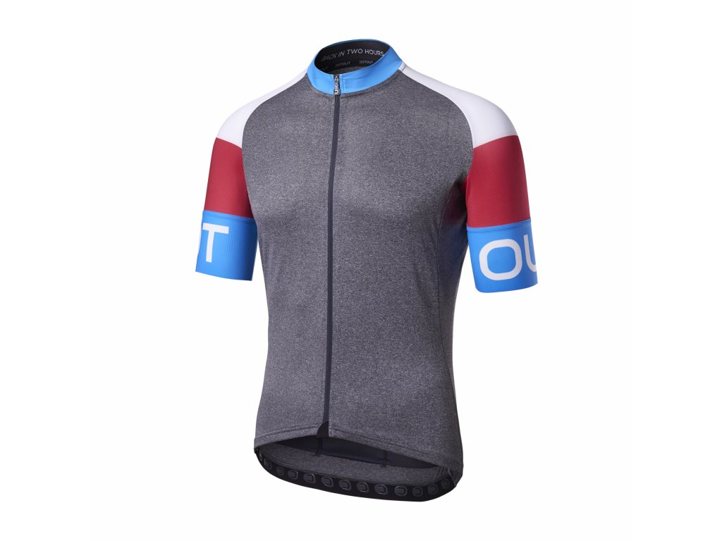 Cyklistický dres Dotout Pure Jersey - melange dark grey-china blue