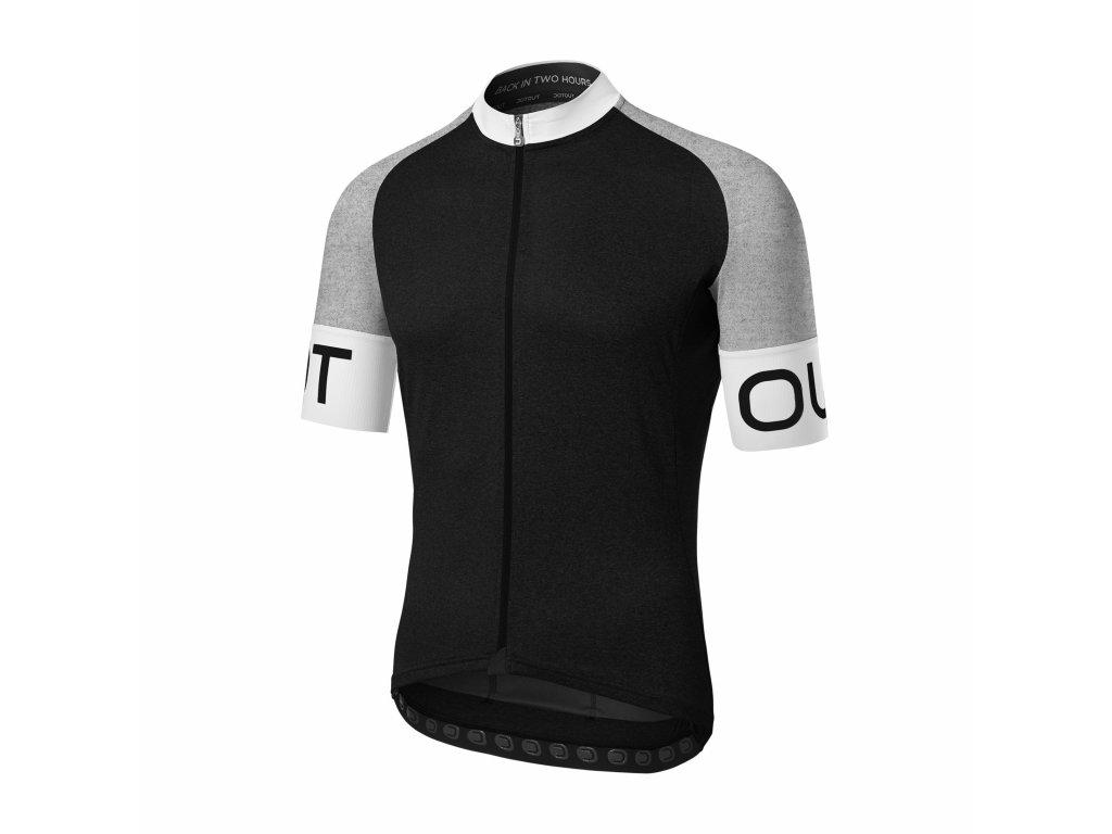 Cyklistický dres Dotout Pure Jersey - black/melange light grey/white