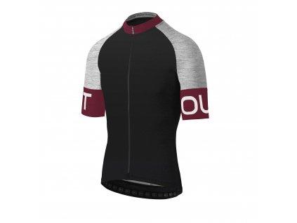 Pánský cyklistický dres Dotout Pure Jersey Black/Bordeaux