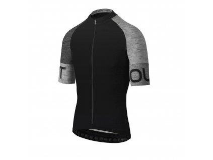 Pánský cyklistický dres Dotout Spin Jersey Black/Melange Dark Grey/Melange Dark Light
